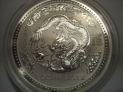 2000 Australia 1 Oz Silver Dragon Coin Mint Condition Proof