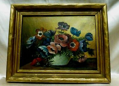 Antique Still Life Oil Painting on Board Panel Antique Wooden Frame signed