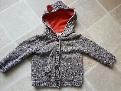 John Lewis Baby Boys Brown Hooded (ears) Jacket 3-6 Months Lovely Used Condition
