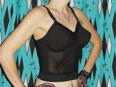 Vintage Exquisite Form Longline Bullet Bra 36 C pin up clothing front closure