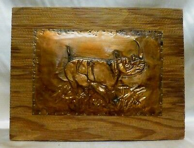 Estate Found  Vintage Hammered Copper Rino Wall Hanging Picture on Wooden Plaque