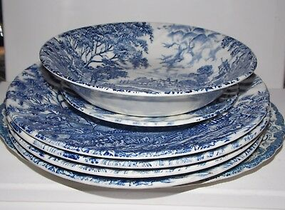 Vintage 1940s IRONSTONE RIDGWAY 'Meadowsweet' Blue & White Crockery Job Lot