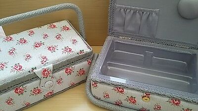 BNWT-Hobby Gift-Vintage Rose Design-Small Oblong Fabric Covered Sewing Box