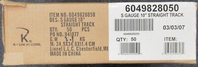 "American Flyer 6-49828 Case of 50x 10"" Straight Track S Gauge NIB"
