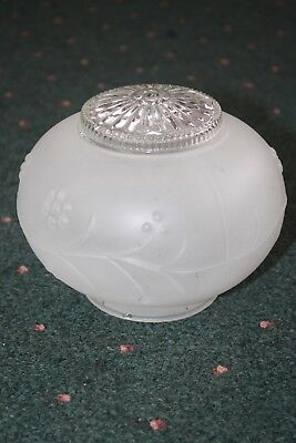 Vintage FROSTED GLASS Ceiling Light Fixture Wall Mount Round Orb Shade EUC