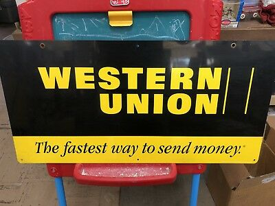 Vintage Western Union Sign Double Sided Tin new , never used been in box !