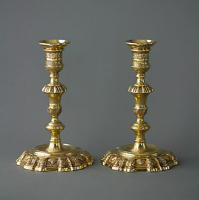A Beautiful Pair of George II Silver-Gilt Candlesticks. Edward Aldridge Lon 1741