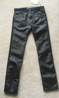 John Galliano Boys Jeans Age 12 Black Jeans with Leather-look Front Brand New