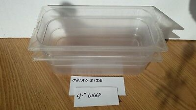 "(2) Carlisle 1/3 Size Polycarbonate Plastic Steam Prep Table Food Pan 4"" Deep"