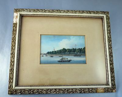 Antique 19th c. CHINA TRADE PAINTING Canton Waterfront w/Boats & US Hong