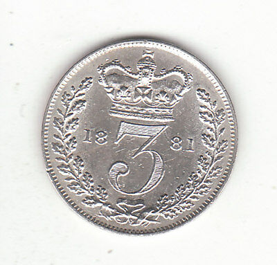 1881 Great Britain Queen Victoria Sterling Silver Threepence.