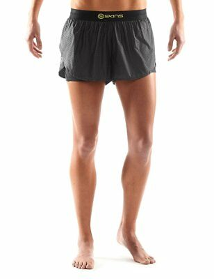SKINS Womens DNAmic Compression Superpose Shorts, Black/Limoncello, Medium