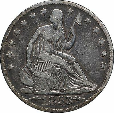 1853 P Seated Liberty Half Dollar, Cleaned F, 50C Fine