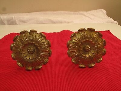 "Set Of 2 Antique Floral Brass Curtain Tie Backs Brass Hardware 1800's 3 1/2"" D"
