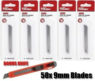 50Pcs 9mm Snap-Off Blades Steel Degree Utility Duty Knife Box Cutter Refill Set