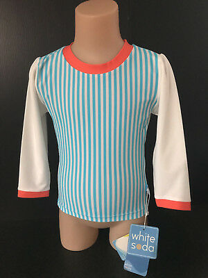 BNWT Girls Size 00 White Soda Brand Cute Stripe Long Sleeve Rash Vest UPF 50+