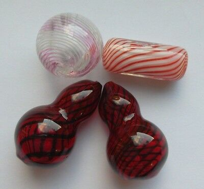 4 Art Glass Lampwork Beads, Cylinder, Sphere and Gourd. Bead/Jewellery/Crafts
