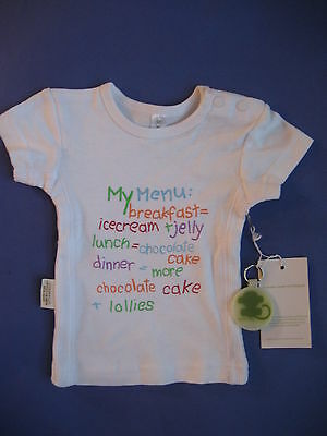 New Sooki Baby Girls My Menu white short sleeve Tshirt cotton Top Sz 000 BNWT !!