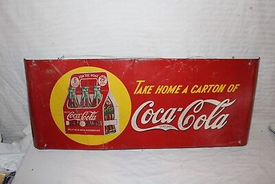 "Rare Vintage 1940's Coca Cola Soda Pop 6 Bottle Carton Gas Oil 37"" Metal Sign"