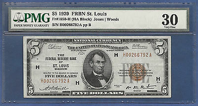 """key"" Note  1929  $5 Frbn  ♚♚ St. Louis ♚♚  Pmg Vf 30    37 Known!!!  Very Rare!"