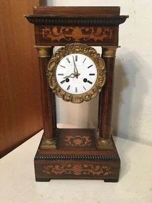 Antique French Empire Inlaid Portico Mantle Clock 4 Column Signed Rollin