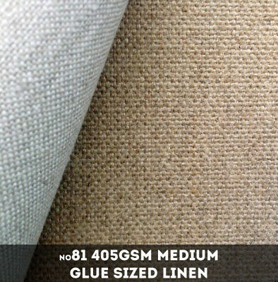 NEW Belle Arti #81G - Medium 405gsm Glue Sized Loomstate Linen - 220cm x 10m
