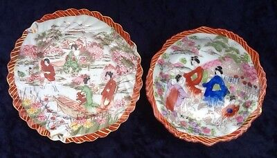Kutani Geisha Plate With Matching Bowl Vintage Japanese