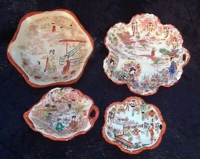 Kutani Geisha Set Of Four Serving Bowls Vintage Japanese