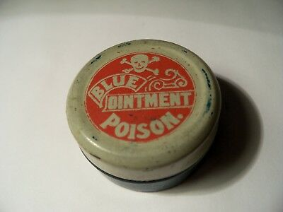 Small Skull & Crossbone Blue Ointment Poison Tin Container