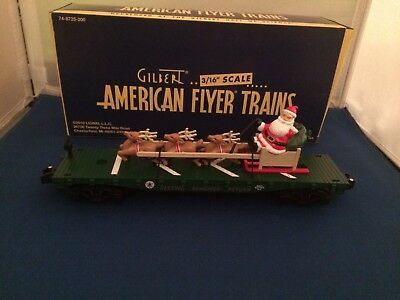 American Flyer 48571 Flat Car with Santa's Sleigh New in Box S Gauge