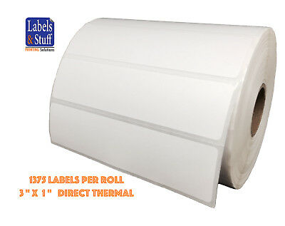 "1 Roll 3x1 (3"" x 1"") 1375 Labels Direct Thermal Zebra Eltron Labels"