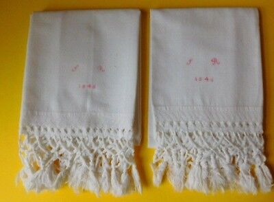 Pair American Handmade Antique Pillowcases with fringe and Monogram dated 1846