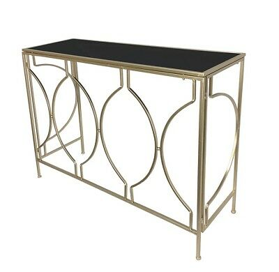 Chicago Console Table W Black Mirror Top Hallway Side Stand Desk Metal Champagne