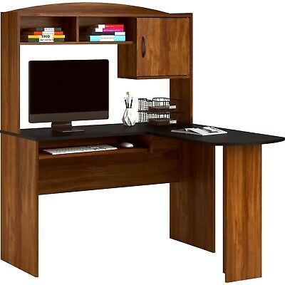 L Shaped Desk Hutch Corner Computer Home Office Wood Desks Table Black Brown