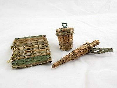 Handcrafted Antique Wicker Sewing Needle Case, Thimble Basket, Bone Stiletto