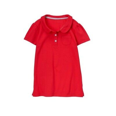 Gymboree Girls Red Unifom Polo Shirt Pocket Peter Pan Collar Size 6 Short Sleeve