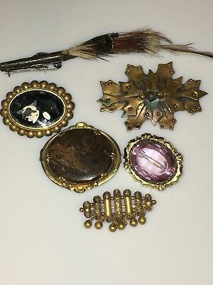 Antique Victorian Pin Brooches Lot. Amethyst, Arts And Crafts Bronze