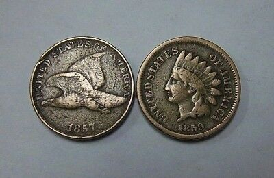 1857 , 1859 Flying Eagle Cent & Indian Head Penny **free Shipping**