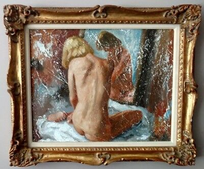 "Alex Schloss 1921 - 2011 Oil and Sand / Board - ""Woman Before the Mirror"""