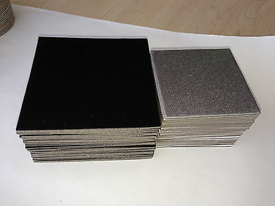 50pc x Strong Square Cardboard Display boards craft models - silver or black