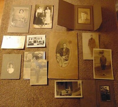Lot Of 13 Antique Family Photos Cabinet Photos 1850s 1930s