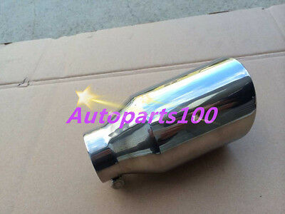 """Universal Muffler Tip 2"""" Inlet Round Bolt On Angle Cut 3"""" Outlet 6.7"""" Long"""