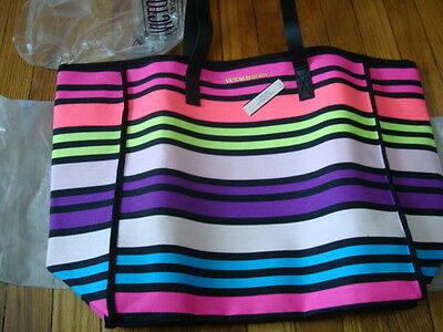 Nwt Women Victoria's Secret Large Lined With Zipper & Pocket Beach Bag & Bottle