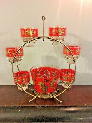 Vtg 1960s Culver Red Paisley Cocktail Set 6 Rocks Glasses Ice Bucket & Carrier