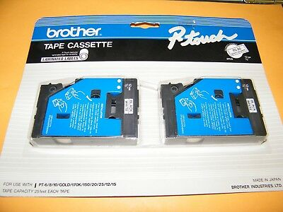 "Brother TC-20 Black on White P-touch Cassette Label Maker Tape 1/2"" ~ NEW"