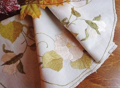 """Authentic Embroidered Arts & Crafts Tablecloth 20"""" Oval DOGWOOD1920s #2 of 3"""
