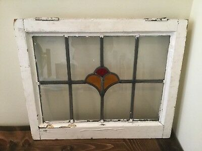 Antique Stained Glass Window Floral Wood Sash Salvage Vintage Leaded