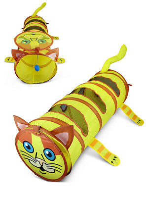 Folding Pet Cat Dog Puppy Fun Tunnel with Nets Windows Exercise Toys