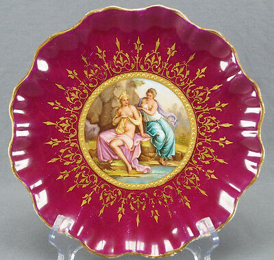 Hand Painted Royal Vienna Diana & Callisto Classical Scene Plate Circa 1860 - 64