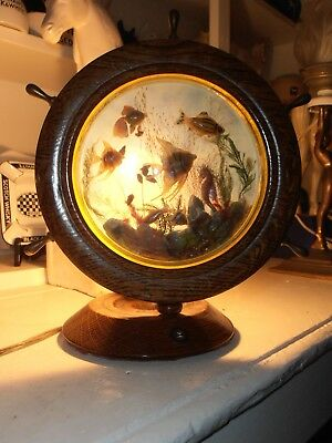 Vintage Retro Oak Nautical Ships Wheel Fish Tank Table Light S.S.Strathnaver '31